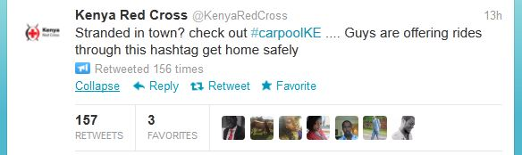 Carpool Red Cross Tweet