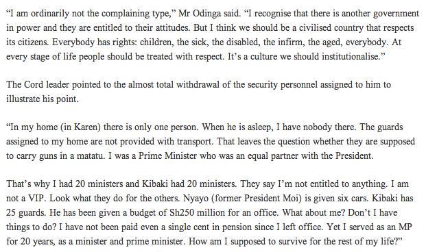Raila complaints