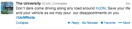 UON Comrades Tweet